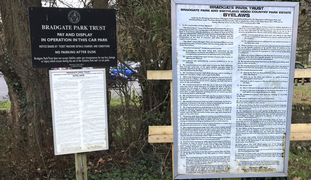 Bradgate Park Byelaws are visible at various locations around the Park