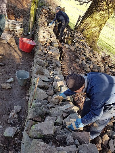 Volunteers dry stone walling