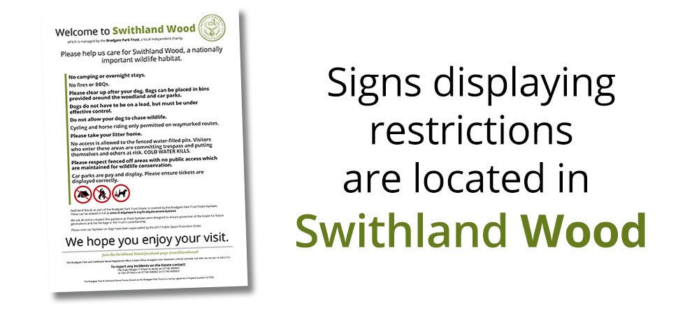 Signs displaying byelaws in Swithland Wood