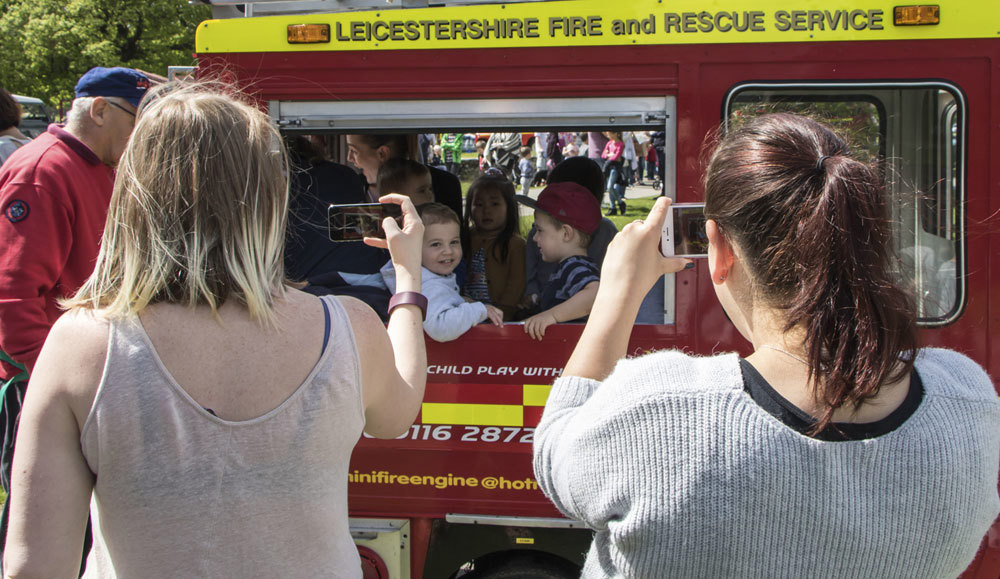 Mini Fire engine giving rides to visitors