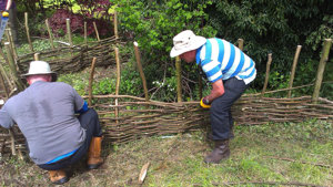 Conservation Volunteers get to work on a Weaving a hurdle